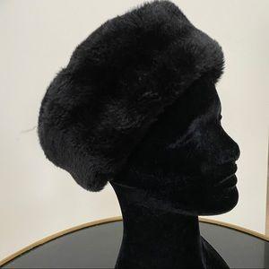 Russian style Black faux fur hat